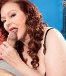 Over 60 cougar Katherine Merlot sucking a big cock in sexy mature woman lingerie