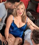 Lingerie clad ash-blonde grannie Luna Azul releasing gigantic breasts before MMF Three-way sex