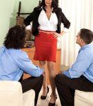 Slim black-haired Rita Daniels showing off mature upskirt skivvies before MMF 3 way