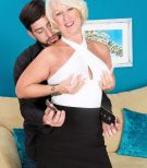 Nylons and skirt garmented grandma Jeannie Lou blowing humungous hard-on on knees