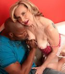 Stocking and high heel outfitted MILF over Sixty Miranda Torri having hard-core interracial sex