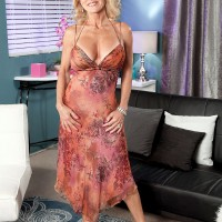 Buxom blonde babe over 60 Cara Reid having big juggs fondled by younger man