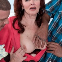 Horny MILF over sixty Katherine Merlot getting banged in Interracial MMF 3some