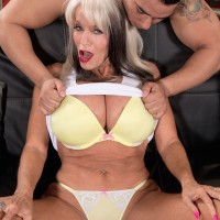 Busty over 60 model Sally D'Angelo getting frisky with a much younger man