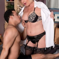 Hot over 60 porn featuring busty mature woman Scarlet Andrews in lingerie