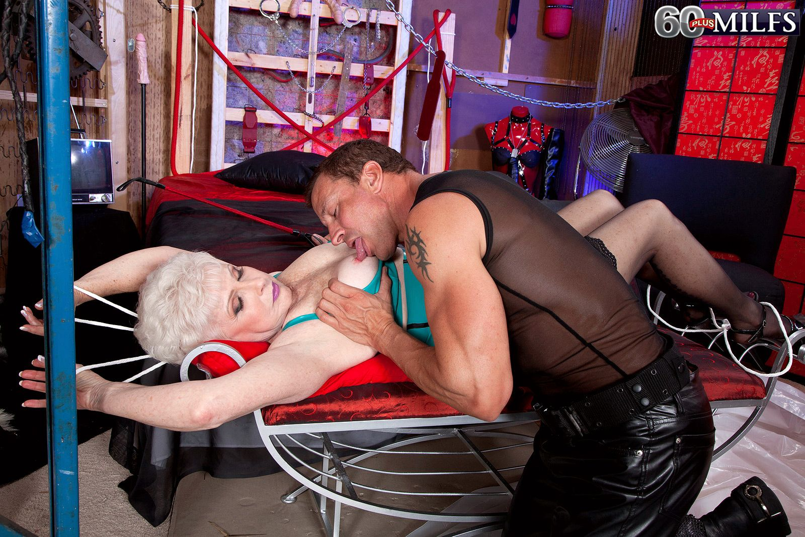 Hot 60 plus granny Jewel acts out her naughty mature BDSM porn fantasies