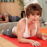 Over 60 model Bea Cummins working out in yoga pants and flashing breasts