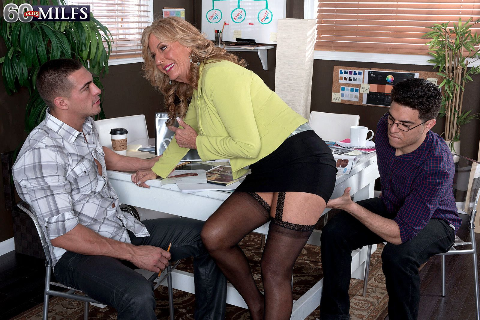 Gorgeous blonde MILF over 60 Phoenix Skye sucking and fucking 2 younger men