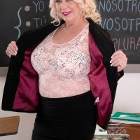 Blonde granny Angelique DuBois rides her students cock in classroom