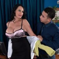 Hot mature secretary Rita Daniels in skirt and pantyhose fucking younger man