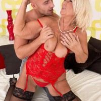 Beautiful mature blonde woman Regi getting fucked in sexy lingerie and stockings