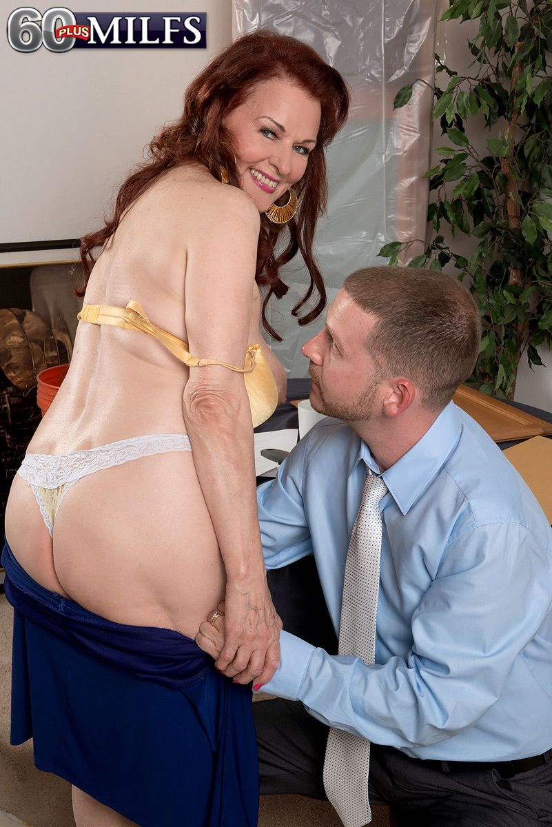 Redhead MILF over sixty Katherine Merlot letting big saggy boobs loose for stud