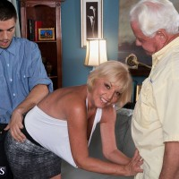Blonde mom over 60 Scarlet Andrews makes a cuckold porn video for hubby