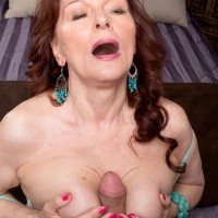 Redhead granny Katherine Merlot having feet worshiped by younger man
