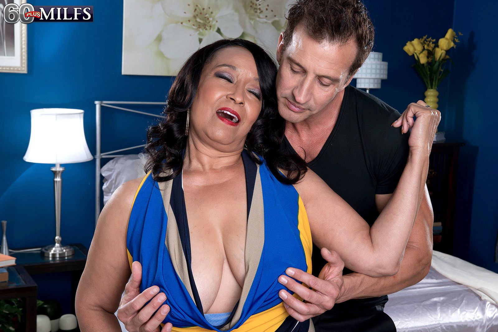 Chubby mature mom over 60 Rochelle Sweet having big boobs played with by man