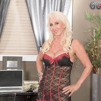 Tall blonde and over 60 GILF Madison Milstar modelling sexy lingerie