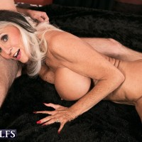 Big boobed over 60 GILF Sally D'Angelo flashing panties under cougar print skirt