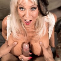 Buxom granny Sally D'Angelo flashing upskirt panties and tit fucking cock