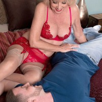 Sexy blonde granny Scarlet Andrews giving an over 60 pornstar blowjob