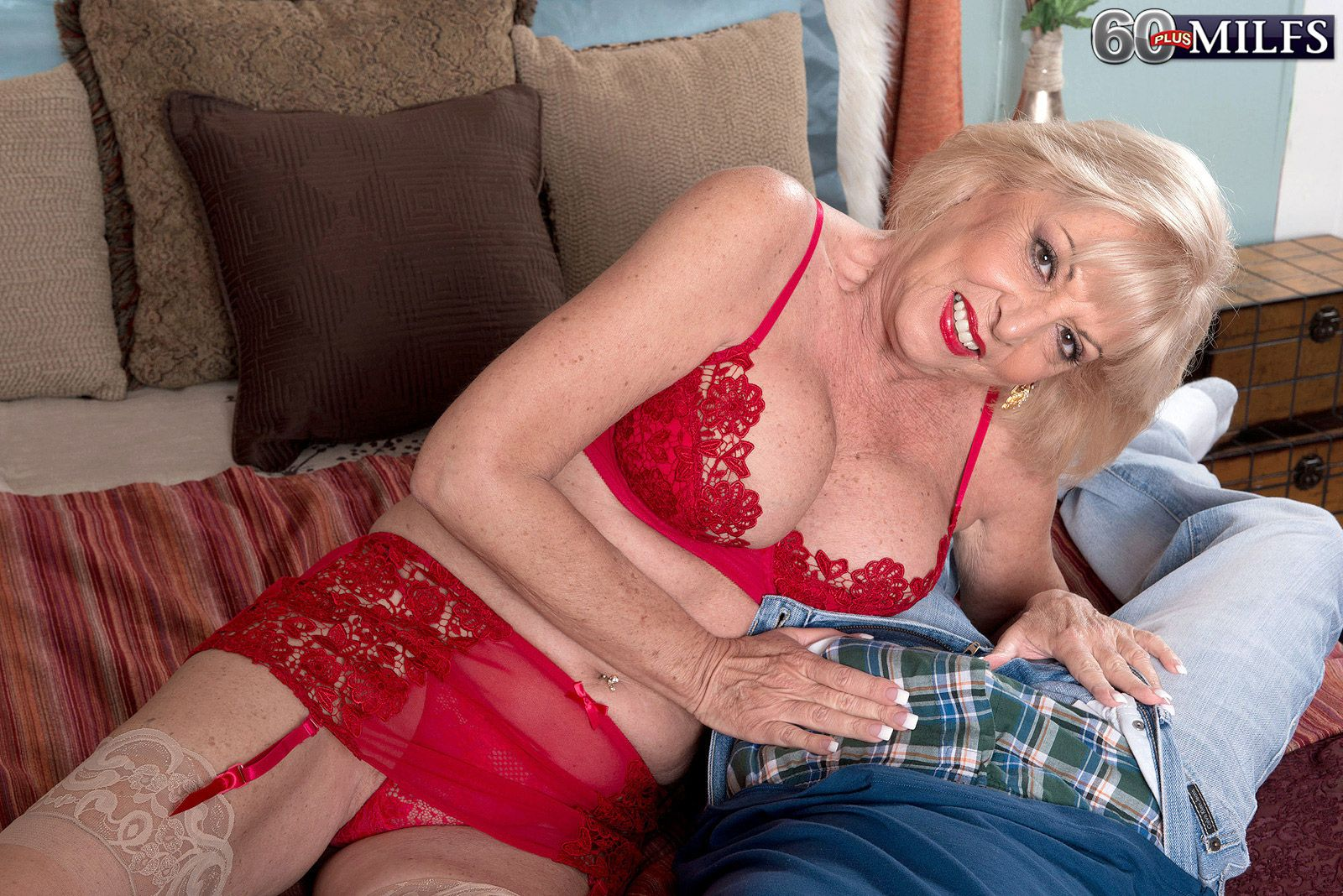 sexy blonde granny scarlet andrews giving an over 60 pornstar