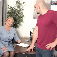 Plump mature woman in nylons tit fucks and blows big cock in office