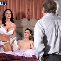 Busty mature pornstar Rita Daniels sucking cock while cuckold hubby watches