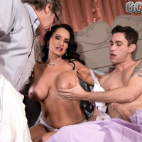 Busty mature pornstar Rita Daniels sucking cock while cuckold hubby watches