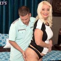 Chunky mature blonde pornstar showing off big fat ass before sex with younger man