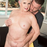 Over 60 granny pornstar Jewel unleashing large all natural mature tits outdoors