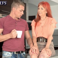 Busty redhead over 60 porn model Charlotta having nice granny tits fondled