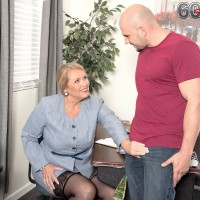 Thick over 60 blonde porn actress Alice giving handjob and tit fuck to large cock
