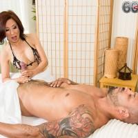 Petite Asian pornstar over 60 Kim Anh giving thick cock handjob