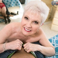 Mature over 60 pornstar Jewel giving large cock blowjob in pantyhose