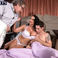Over 60 pornstar Rita Daniels fucking younger cock in front of cuck husband