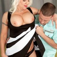 Bosomy over 60 pornstar Veronica Vaughn riding younger cock in red high heels
