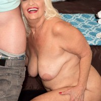 Chunky over 60 porn model Vikki Vaughn baring big ass and saggy granny tits