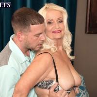 Chunky over 60 porn model Vikki Vaughn baring big ass and saggy granny tits