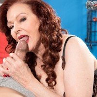 Naughty over 60 escort Katherine Merlot giving younger man a blowjob