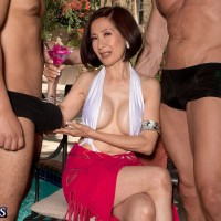 Over 60 Asian pornstar Kim Anh giving big cocks handjobs outdoors