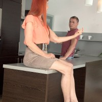Leggy over 60 amateur redhead giving handjob before hardcore doggystyle fuck