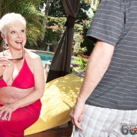 Over 60 pornstar Jewel undressing for hardcore doggystyle fucking on couch
