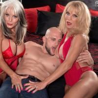 Busty blonde mature lesbian pornstar fucking muscular man in hot three way sex
