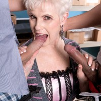 Over 60 granny pornstar giving massive cocks oral sex on knees during MMF
