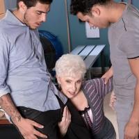Over 60 granny pornstar giving massive cocks oral sex on knees during MMF