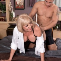 Over 60 woman seduces her Latino son in law in a white shirt and 3 piece lingerie