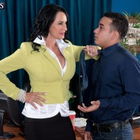 Hot mature businesswoman seduces a younger Latino man while in her office
