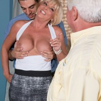Mature blonde lady making pornstar debut while cuckold hubby watches on