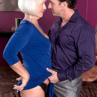Over 60 woman with silver hair seduces her man friend in crotchless underwear