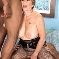 60 plus MILF pornstar in bodystocking fucking big black cocks in interracial MMF