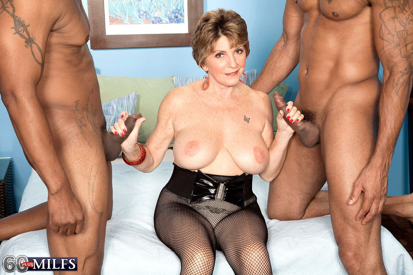 60 plus MILF pornstar in bodystocking fucking big black cocks in interracial MMF
